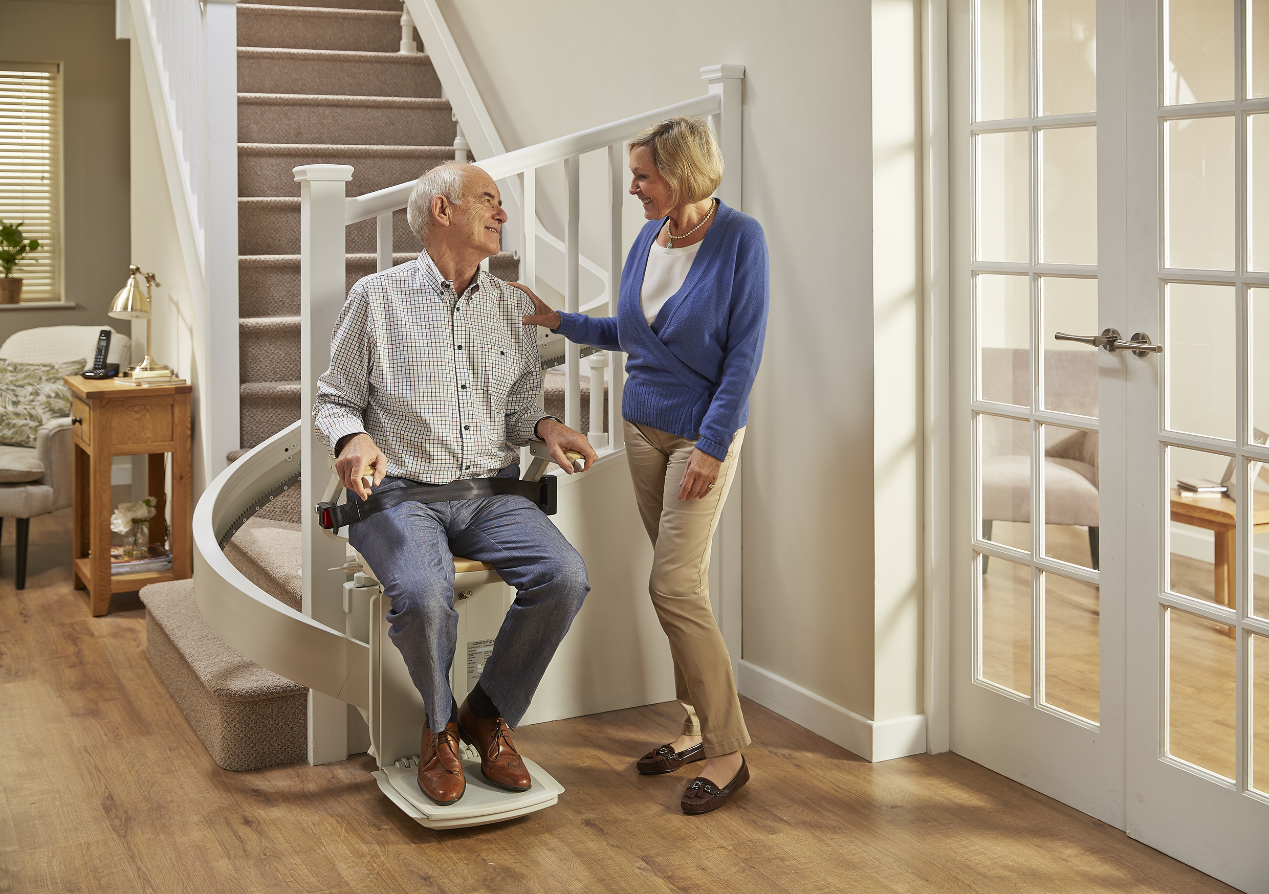 Image of Dr Hilary with Curved Stairlift